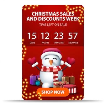 Рождественская неделя распродаж и скидок, красный вертикальный баннер с таймером обратного отсчета, оранжевая кнопка и снеговик в шапке санта-клауса с подарками