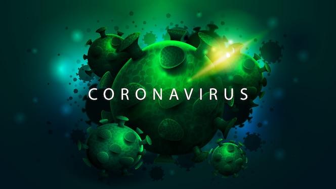 Большие зеленые молекулы коронавируса на абстрактный синий фон