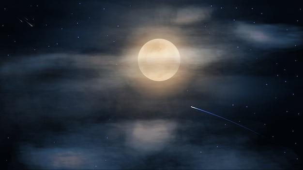 Ночное темно-синее звездное небо с большой полной луной в облаках