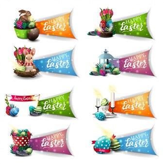Счастливой пасхи, коллекция поздравительных красочных символов с мультяшной пасхой