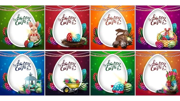 Счастливой пасхи, большой набор ярких красочных открыток с пасхальными иконками, надписью и большим белым яйцом