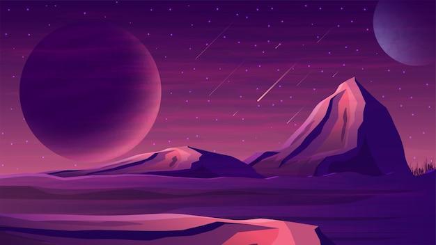 大きな惑星、星空、流星、山のある火星の紫色の宇宙風景。地平線上に巨大な惑星がある宇宙景観