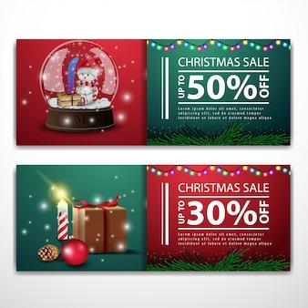 クリスマスバナー、贈り物とスノーグローブテンプレート
