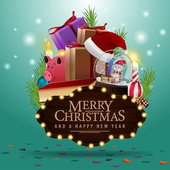 クリスマスプレゼント付きのメリークリスマスツリープレート
