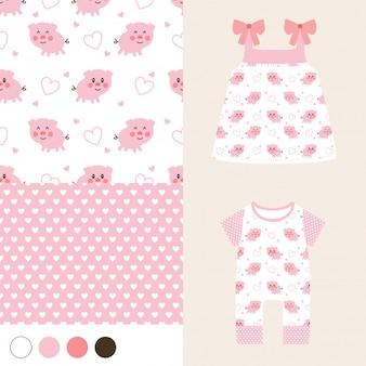 かわいい豚と女の子のファッションとシームレス
