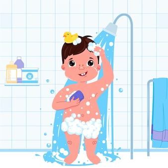 小さな子供男の子文字がシャワーを浴びる。日常生活バスルームのインテリアの背景。