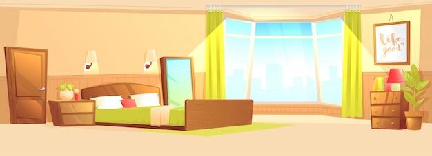 ベッドルーム、モダンなフラットベッド、ナイトテーブル、ワードローブ、窓と植物。