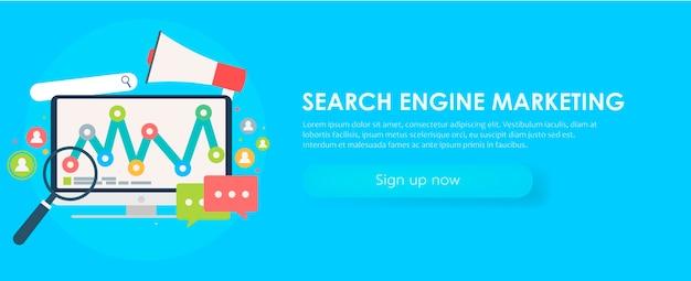 検索エンジンマーケティングのバナー。オブジェクト、図、ユーザーアイコンを持つコンピューター。