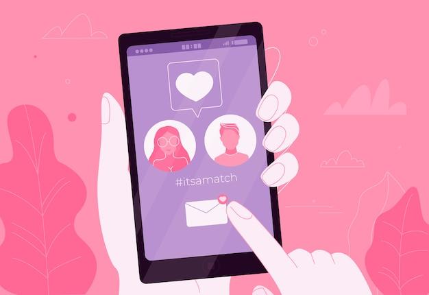 Онлайн знакомства влюбленной пары в приложении на телефоне. это матч. онлайн свидание.