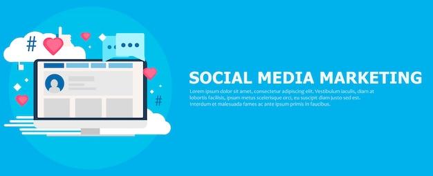 ソーシャルメディアマーケティングのバナー。いいね、クラウド、コメント、ハッシュタグを持つコンピューター。