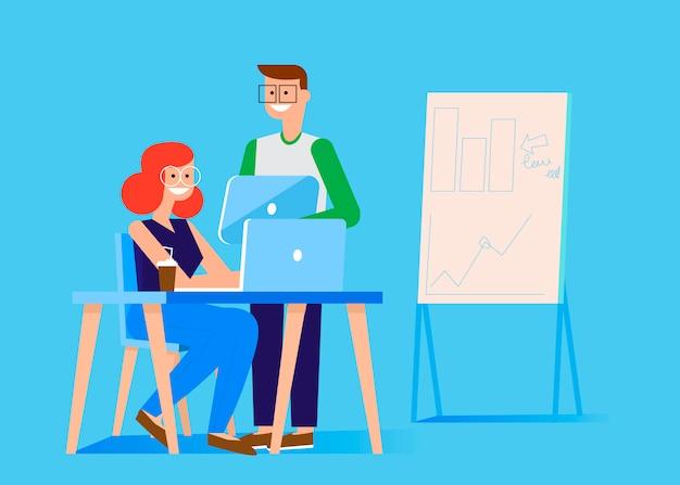 マーケティングチームのバナー。コンピューターとタブレットでオフィスの男女。