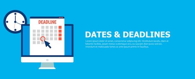 Даты и сроки баннер. компьютер с календарем, часами и песочными часами.