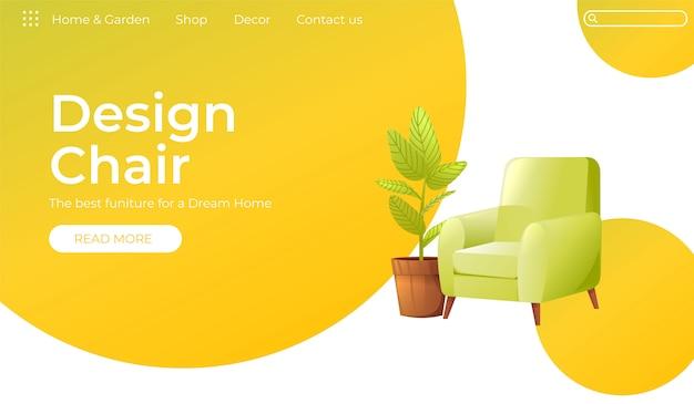 あなたの家のインテリアデザインのバナーのための古典的な椅子