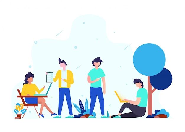 チームワークの概念、事業戦略、分析およびアイデア。