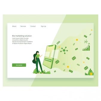 ランディングページテンプレートのマーケティングのモダンなフラットデザインのコンセプト