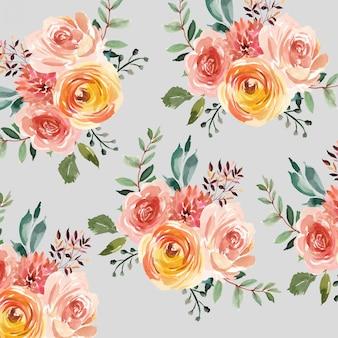 水彩花柄の背景