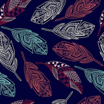 シームレスパターン手描き自由奔放に生きる羽