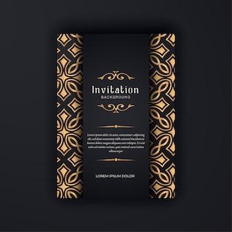 金装飾結婚式の招待状テンプレート