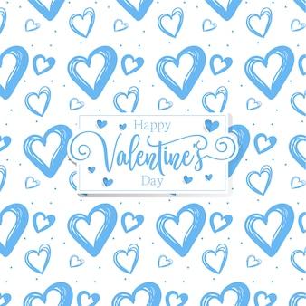 かわいいロマンチックな心バレンタインデーのパターンの背景