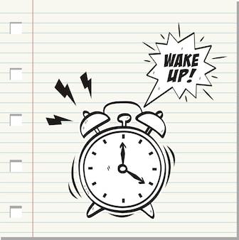 Проснись, надпись на будильнике.