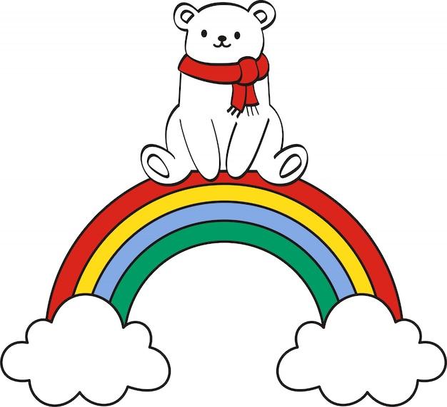 用紙の背景に虹とかわいいクマ