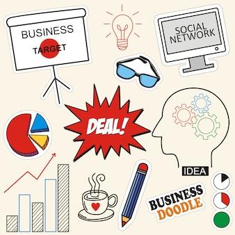 Набор бизнес иконы каракули на фоне бумаги