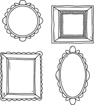 Векторный набор старинных рамок для фотографий