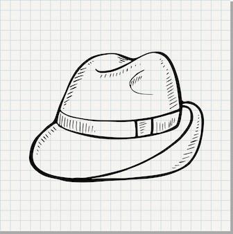 落書きクラシックフェルト帽子白い背景で隔離