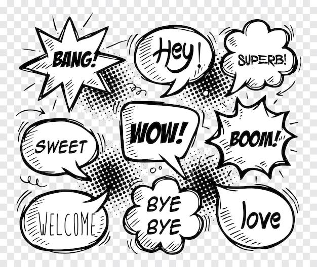 Коллекция комических пузырей речи. стиль каракули