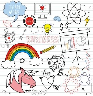 Набор красочных каракули на фоне бумаги, забавные иконки мультфильм