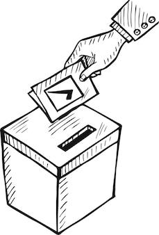 Рука человека сбрасывает бюллетень в урну для голосования