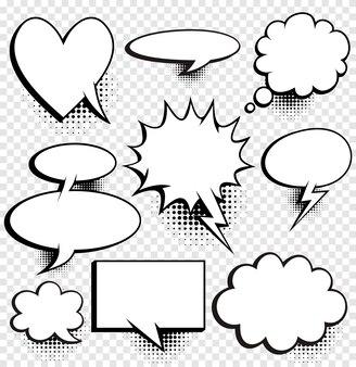 Комические пузыри речи с полутонами