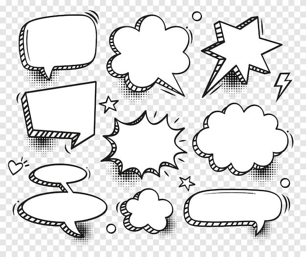 Набор комических пузырей речи с полутонами