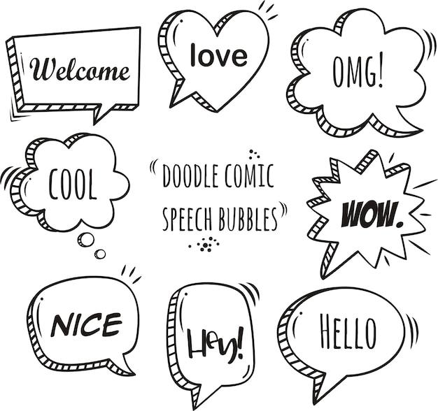 Набор комических речевых пузырьков и элементов