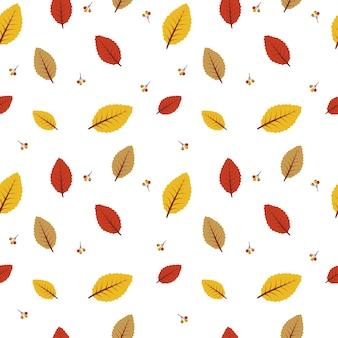 秋の葉のシームレスなパターンの背景