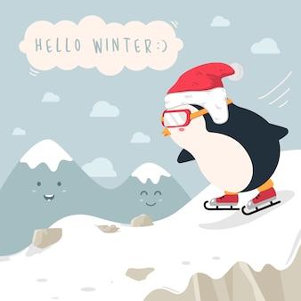 雪景色の山のイラストにスケートをするペンギン