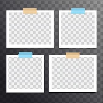 孤立した現実的な空白のインスタントポラロイド写真セット