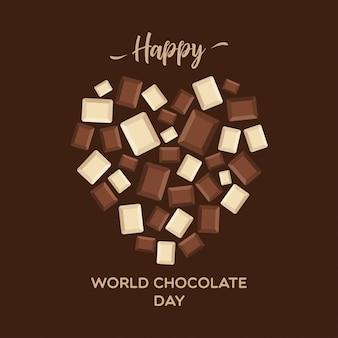 Шоколадный день надписи типографии с шоколадных блоков.