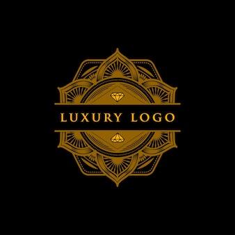 高級ジオメトリーダイヤモンドの曼荼羅ロゴ