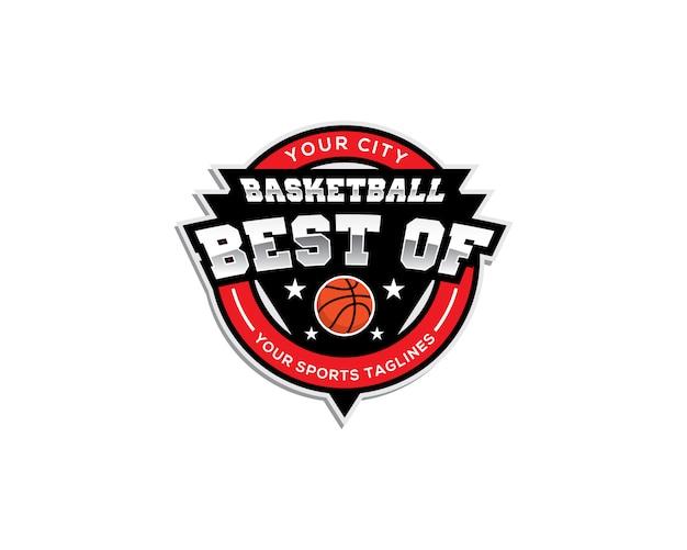 バスケットボールのエンブレムロゴのテンプレート、最高のテキスト