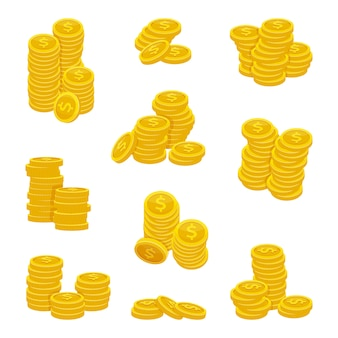 黄金のコインのさまざまなスタック。金のお金のベクトルイラスト