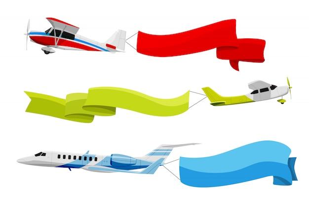 Прикрепленные баннеры к летящим самолетам. векторная иллюстрация в мультяшном стиле