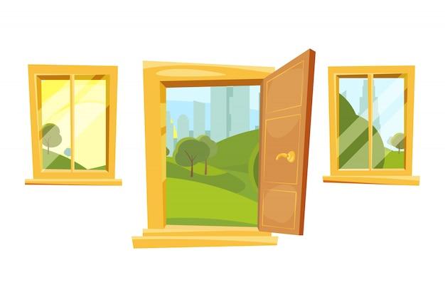 開いているドアと窓の後ろに夕日の風景。漫画のスタイルのベクトル写真セット
