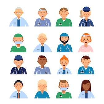 職業別の男性と女性の医療キャラクター。病院のアバターセットの人々