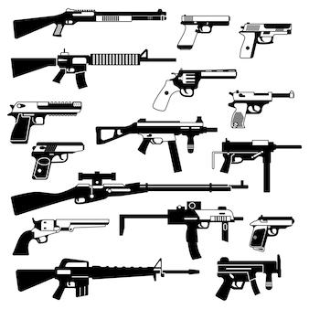 自動銃、拳銃、その他の武器の軍事セット。白黒イラストの分離