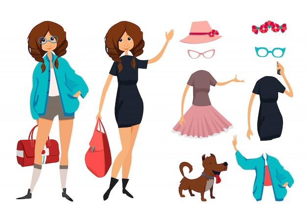 メガネで流行に敏感な若い女の子のキャラクター。カジュアルスタイルの服
