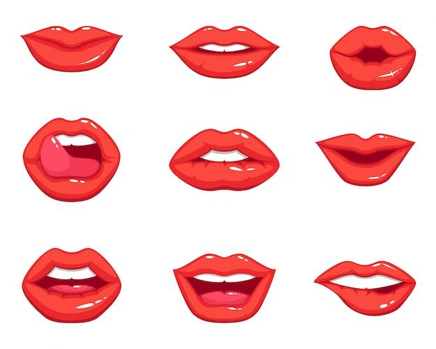 女性のセクシーな赤い唇のさまざまな形。漫画のスタイルのベクトルイラスト