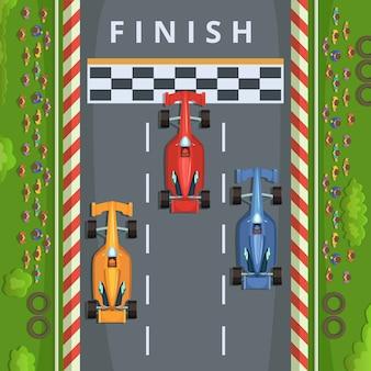 フィニッシュラインでレーシングカー。トップビューレーシングイラスト