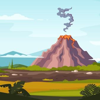 火山と溶岩のある野生の風景。火山噴火風景自然