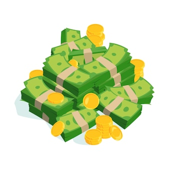 非常に大きなお金とコインの束。